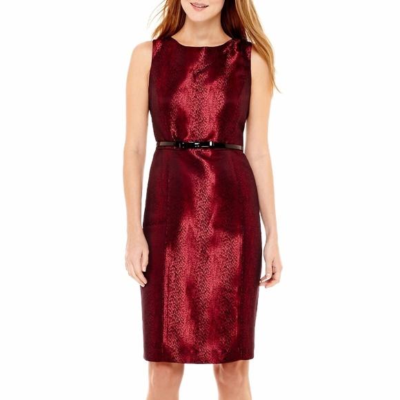 b90dce81607 Black Label Evan-Picone Sleeveless Jacquard Dress